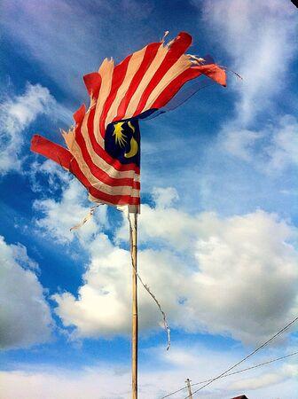 Vieux drapeau malaisien Banque d'images