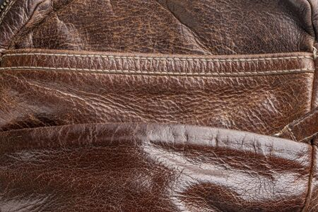 background-brown old leather, a fragment of a shabby bag, a stylish thing close-up Reklamní fotografie