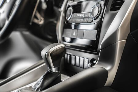interior of a new car. automatic transmission selector and instrument panel 版權商用圖片
