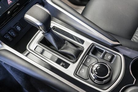 automatic transmission of the car. close-up view from above in the car interior