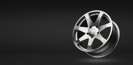 silver aluminum alloy wheel, on a black gradient background. copy space and mockup