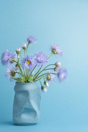 beautiful summer spring bouquet of purple daisies flowers in a can of Cola instead of a vase. vertical photo, light green background Stockfoto