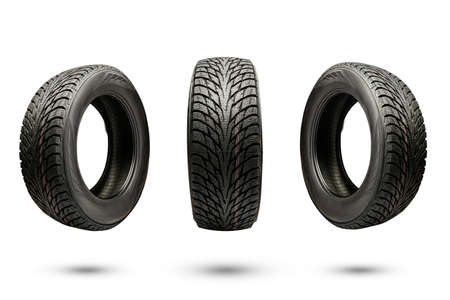 three winter friction tires, isolate on a white background.