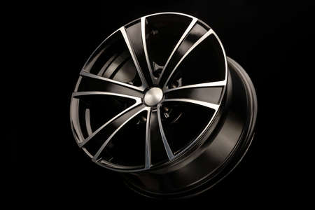 alloy wheel black with a white groove, 6 beams for SUVs and crossovers, close-up on a black background