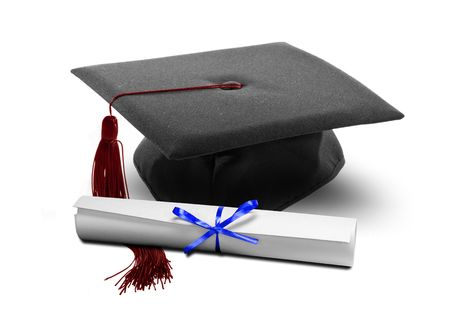 Image of graduation hat and diploma scroll Stock Photo