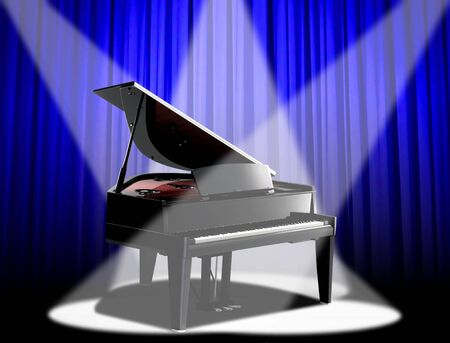 Image of piano under spotlight with blue curtain photo