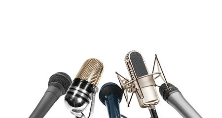 Image of multi type of microphone during press conference photo