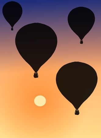 Image of hot air balloons during sundown photo