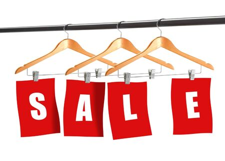 garderobe: Image of  colth hangers displaying word of sale