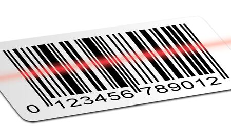Image barcode been scan by the barcode reader Stock Photo
