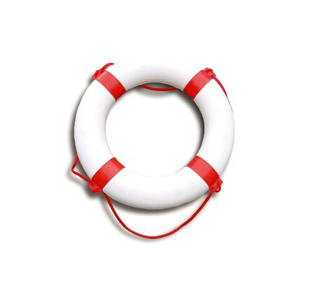 life jackets: Image of live saving object over white Stock Photo