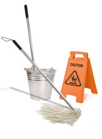 ぬれた床を拭きモップのイメージ