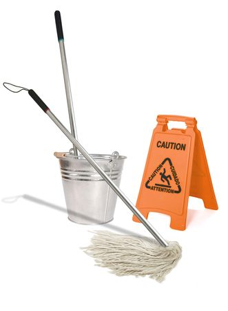 janitorial: Image of a mop wiping a wet floor