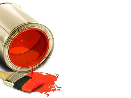 paintjob: image of Spilled red paint and brush Stock Photo