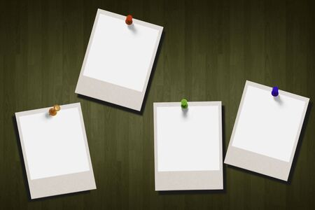 Image of polaroids sticking on a wall photo