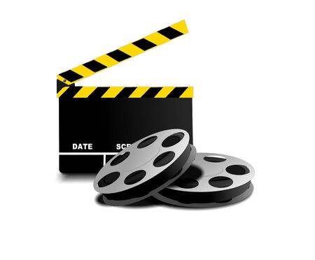 Image of two movie reel and directors clapper photo