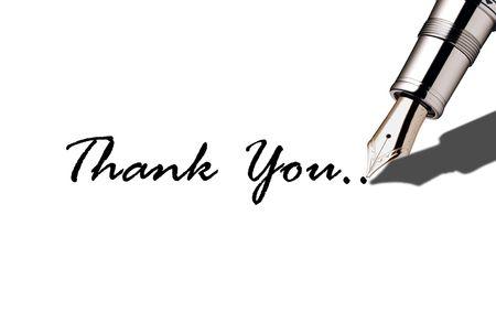 Image of fountain pen writing thank you Stock Photo - 7164631