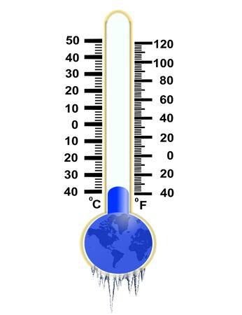 termometro: imagen de congelado el rmometer con el mundo en el