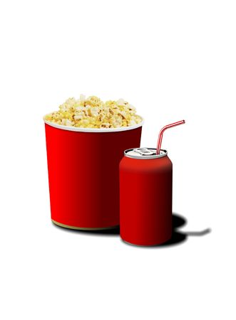 Image of popcorn and soda for movie lover photo