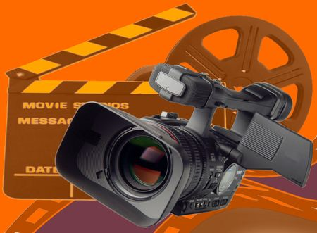 video still: Image of moving making camera over orange Stock Photo