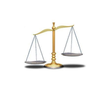 Image of empty unbalance scale over white Stock Photo - 7164656