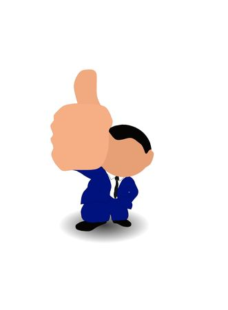 Image of businessman with thumb up over white Stock Photo - 7164649