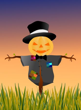 Image of scarecrow doing its job on a field Stock Photo
