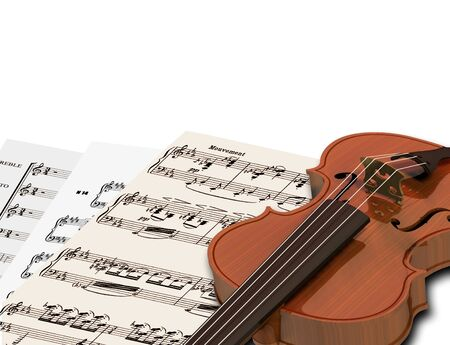 symphony orchestra: Image of music sheets and notes with violin