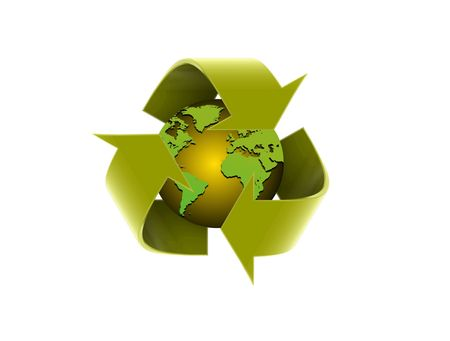 Image of global recycle arrow over white Stock Photo - 7164723