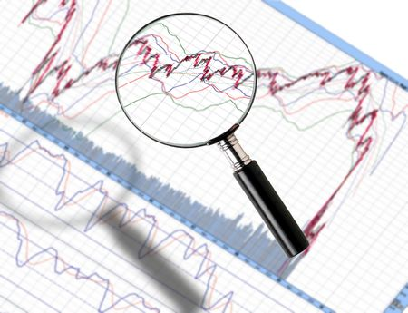 stock image: Image of magnifier zoom in stock chart