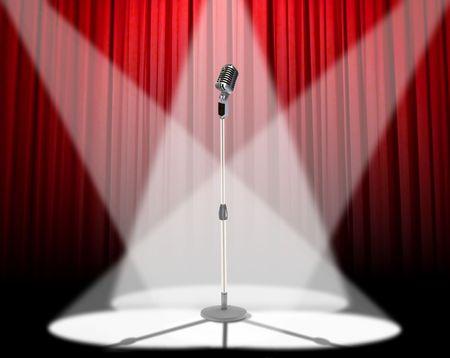 sipario chiuso: Microfono riflettori