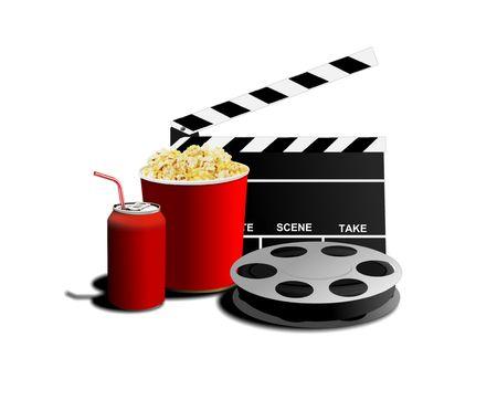 movie and popcorn Stock Photo