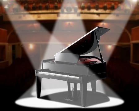 piano: piano en la sala de conciertos