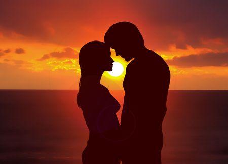 amantes: Romántica puesta de sol  Foto de archivo