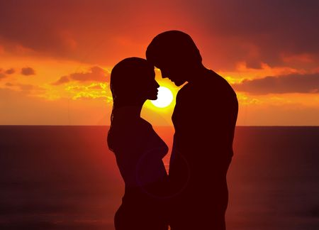 silhouetted: Romantic sunset
