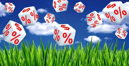 white interest rate: Price drop Stock Photo