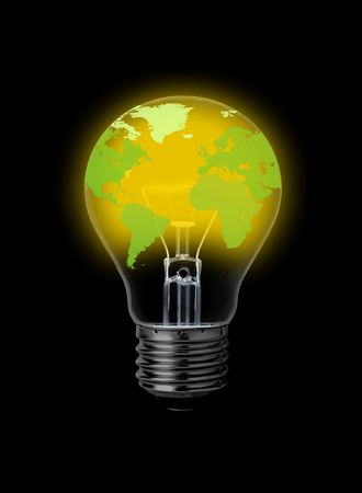 lightbulb with world-map Stock Photo - 7921941