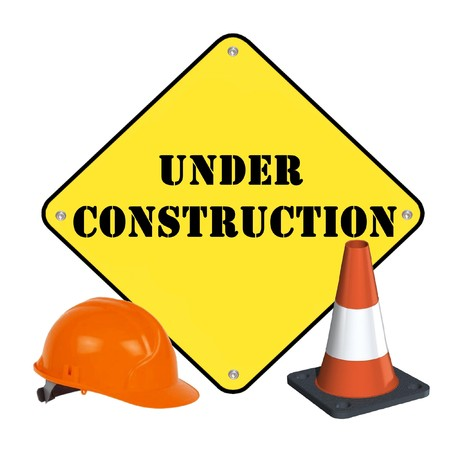 construction signs: Under construction Stock Photo