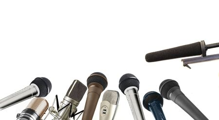 Press conference microphone row Stock Photo