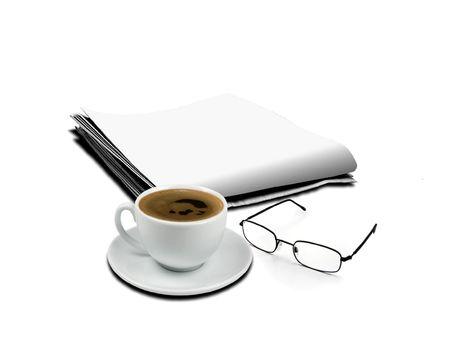 杯のコーヒーと新聞メガネ 写真素材
