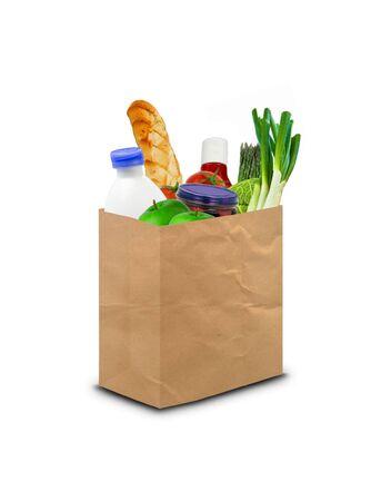 식료품으로 가득 찬 종이 봉투 스톡 콘텐츠