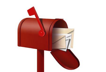buzon de correos: casilla de correo rojo y envalopes