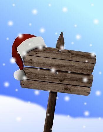 wood sign with santas hat photo