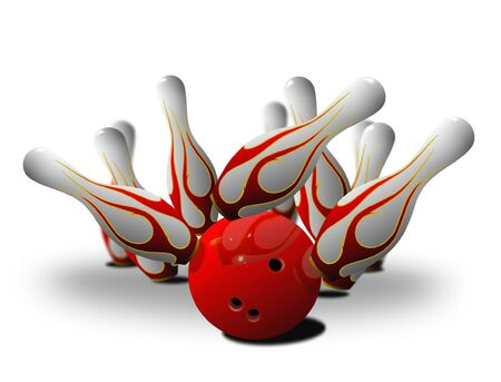 bowling pin strike over white Stock Photo - 8249700