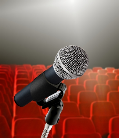 listeners: seminar hall and microphone Stock Photo
