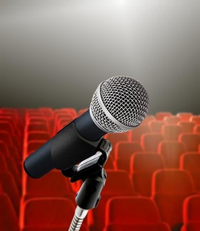 seminar hall and microphone Stock Photo