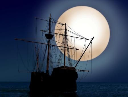 夜の海賊船 写真素材