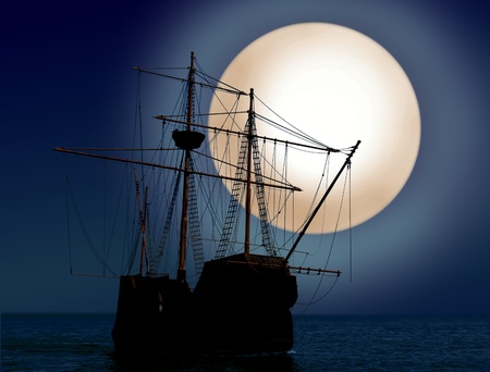 pirate ship at night photo