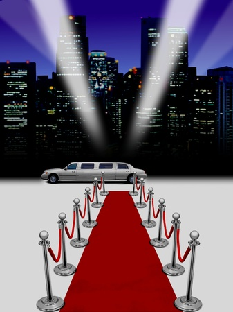 limo with night spot lights photo