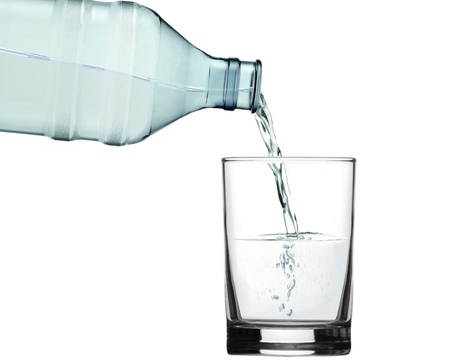 pour water into glass